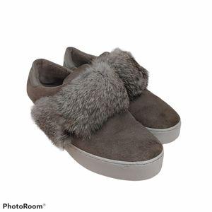 Michael Kors Size 9 Grey Rabbit Fur & Suede Shoes